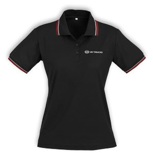 UD Ladies Black/Red Cotton Golf Shirt